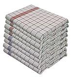 Gastro Line - Lot de 10 torchons – 100% coton – Lavable à 95° - Supporte des températures élevées - Taille 50 cm x 70 cm Couleur 5 x Bleu 5 x Rouge