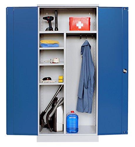 Schrank & Stuhl Universalschrank GRAU/BLAU 195 x 92 x 42 - KOMPLETT MONTIERT - Aktenschränke Komplett Montiert