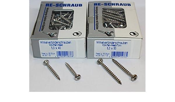 5,0 x 40 RE-SCHRAUB Winkelverbinderschrauben hell verzinkt 5,0 x 35 bis 5,0 x 50 mm 100 St/ück