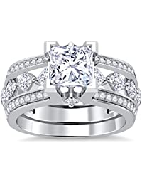 Silvernshine 10K White Gold PL Clear Sim Diamonds Interchangable Ladies Special Engagement Ring