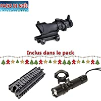 Airsoft Pack ACOG Christmas Upgrade 4x32 Color Negro; un Rail Triple Picatinny de 22 mm con un LED Recargable Swiss Arms Led Lamp