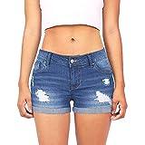 Lialbert High Waist Jeans Dunkelblau Denim Shorts Damen Zerrissen Kurze Hosen Frauen Sommer Hotpants Große Größen Jeanshose Push Up Short Jean