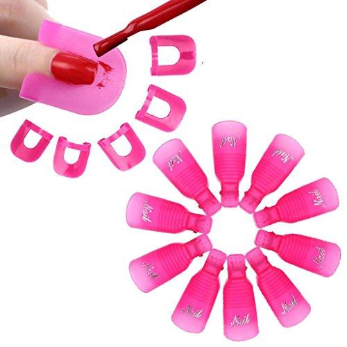 Tonsee 10Pcs Nail Art Soak Off Cap clip UV Gel Polish Remover Wrap+26pcs Nail Modèle Spill Protector manucure Preuve Outils, Rose vif
