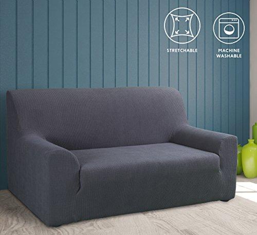 Tural – Grau Elastischer Sofabezug 3 Sitzer (195-260cm). Sofa-Überwürfe Sesselbezug Sesselhusse Sofaüberwurf. Erhältlich in verschiedenen Farben und Größen.