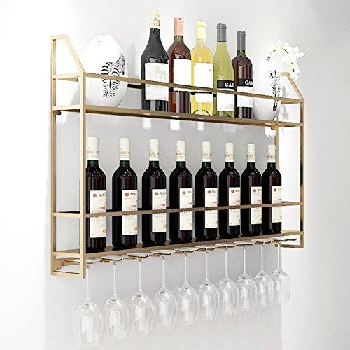 Weinregale Wand montiert Flaschen Lagerung & Glas Metall Halter Home Decor für Wohnzimmer oder Küche (Farbe : Gold, größe : 80 * 12 * 62CM) (Glas Lagerung-flaschen)