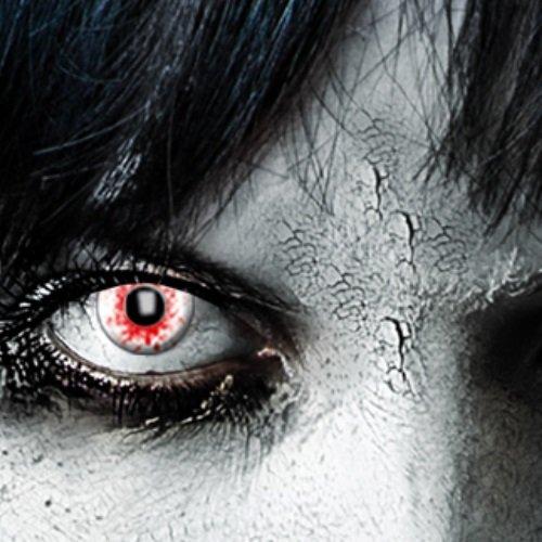 Funlinsen 3-Monatslinsen weiß Bloodshot, white Zombie, Kontaktlinsen, - Halloween Dracula Kostüm