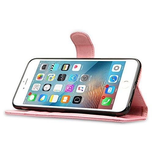 Labato Bookstyle Leder Hülle Tasche Case Handytasche Handyhülle für iPhone 6 Plus und i Phone 6s Plus Cover Etui Schutzhülle Lbt-I6U-05Z80 pink