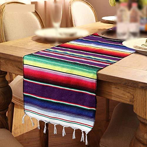 NANAD Tischläufer für Zuhause, Party, mexikanischer Stil, dekorativ, buntes Bankett, rechteckig, Quaste für Hochzeiten, handgefertigt, waschbare Baumwollmischung, violett, Free Size