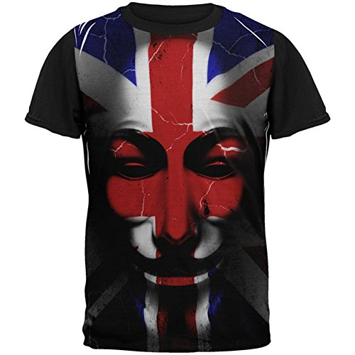 Shirt Britische T Flagge (Old Glory Guy Fawkes Day Union Jack Distressed Britische Flagge Maske Aller Mens Black Back T Shirt Multi MD)