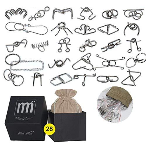 AiYoYo Knobelspiel für Erwachsene und Kinder Metall Geduldspiele 28 Stück 3D Metall Puzzle Spiele Spielzeug Geschenk für Weihnachten,Ostern, Geburtstag