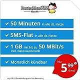 DeutschlandSIM LTE Mini SMS 1 GB [Sim, Micro-Sim und Nano-Sim] monatlich kündbar (1 GB LTE mit Max. 50 MBit/s + Datenautomatik, 50 Minuten, SMS-Flat, EU-Ausland Inklusive, 5,99 Euro/Monat)