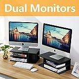 RFIVER Wooden Home Office Supplies Desk Organizer Set, Printer Stands, Computer Tabletop Monitor