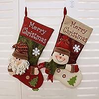 SWYIVY Christmas Tree Bag Hanging Gift Socks Santa Claus & Snowman Candy Bag