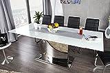 Ausziehbarer Design Esstisch CONCORD Glastisch chrom weiss 180-220cm Tisch