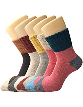 ysense Damen Dick Knit Warm Casual Wolle Crew Winter Socken, 5 Stück
