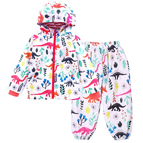 LZH Boys Girls Waterproof Raincoat Hooded Jacket Dinosaur Coat Trousers Suit
