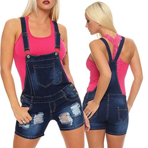 5590 Fashion4Young Damen Latzhose Hotpants Shorts kurze Hose mit Hosenträgern Jeanslatzhose Dunkelblau