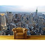 Papel Pintado Fotográfico New York Skyview pintado XXL–cuadro, papel pintado fotográfico, Papel pintado, High Quality, Premium de papel pintado, vellón, 200 cm x 140 cm