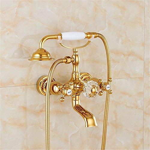 Hlluya Wasserhahn für Waschbecken Küche Der goldene Hahn antike Badewanne mit kaltem Wasser Duschen Kupfer Wasserhahn C 779
