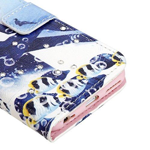 SainCat iPhone 5 / 5S / SE Custodia,Creative Disegno Stampa Libro Stile PU Leather Flip Chiusura Magnetica Protettiva Portafoglio Wallet in Pelle Stand Cover Case Con Funzione di Supporto e Morbido TP Piccolo Giallo Croaker