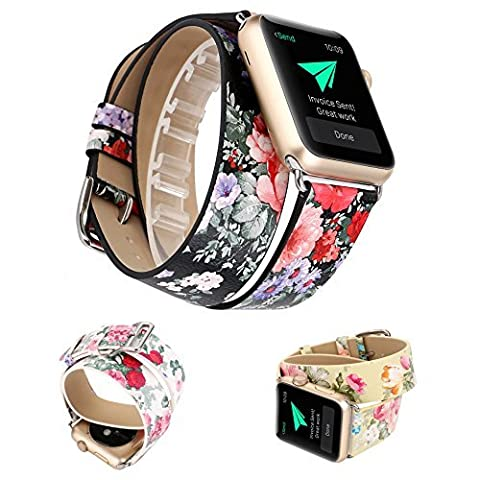 X-cool für Apple Watch Armband Leder Lange Double Kreis Blume Design mit Metall Kügelschloss für Damen (Schwarz-38mm)