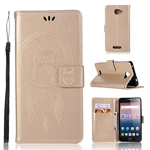 Nadakin Hülle für Alcatel One Touch Pop 4S /OT5095 SSchutzhülle Leder Owl PU Wallet Case Ständer Magnetverschluss Kartenhalter Flip Cover für Alcatel One Touch Pop 4S /OT5095 (Gold)