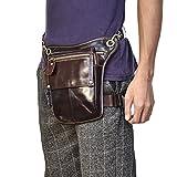 Luufan Männer Echte Leder Multi-Purpose Drop Bein Tasche Motorrad Fahrer Taille Tasche Hip Bum Packung Schultertasche (Brown 4)