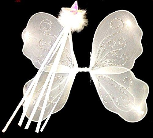 ONE4all kaufen® klein weiß Glitzer Engel Flügel und Shimmer Weiß Zauberstab, Engel Fee Set Up Schminktisch–Fancy Dress, Halloween, Geburtstag, Prinzessin Outfit, Princess Dressing Up (Up Dressing Outfit)