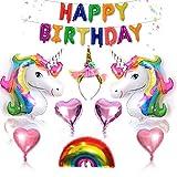 ToWinle 26 Stück Einhorn Geburtstagsdeko Set Happy Birthday Einhorn Luftballon Deko Kinder Geburtstag Party Zubehör