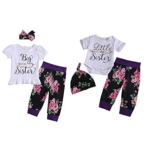 Passende Schwester Kleidung Set Baby Mädchen Outfit große Schwester oder kleine Schwester T-Shirt Top und Floral Bedruckte Hose Stirnband oder Hut -