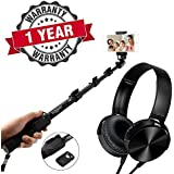 Starford Selfie Stick Extendable Handheld Monopod Self Portrait With Zoom Bluetooth Shutter With MDR-XB750BT Wireless Bluetooth Headphone Over-Ear Hi-Fi Deep Bass With Mic, FM, And SD Card Support Compatible With All Smartphones (One Year Warranty)