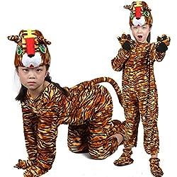 Disfraces de animales para niños Disfraz de pijama con capucha y unisex (Tigre, M (Para niños de 105-120 cm de altura))