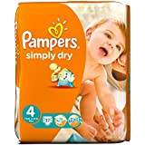 Pampers Simply Dry taille 4 (7 à 18 kg) Jumbo Box Maxi 74 par paquet