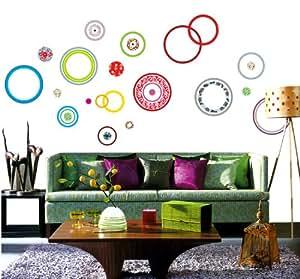 Topro simplifiée cercles colorés ronds de tailles différentes mural St...