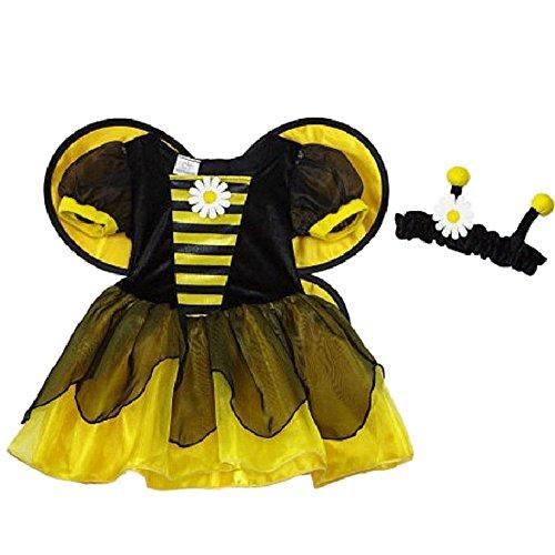 Koala Kids süße Baby Honig Biene Bumble Bee Kinder Mädchen Halloween Fasching Karneval Kostüm Kleid + Haarband (62/68)