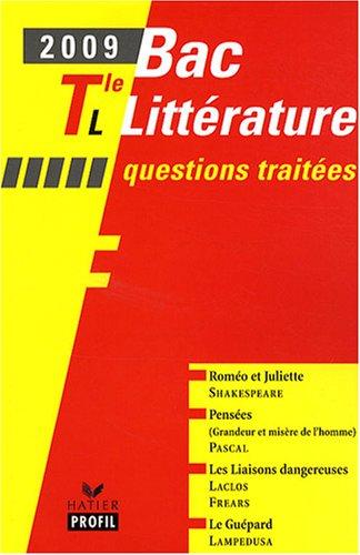 Bac 2009 littérature Tle L : Questions traitées