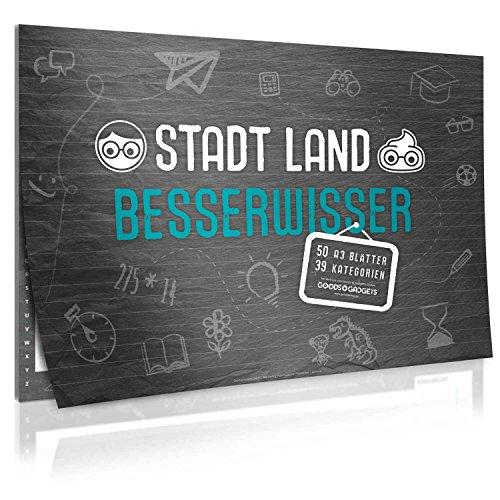 Goods & Gadgets Stadt, Land, Besserwisser - der Spiele-Klassiker Stadt Land Fluss in der XXL Neuauflage mit 39 Kategorien und vielen Spezialregeln