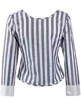 Donna Camicia Elegante Manica Lunga Camicetta A Zebra Strisce Rotondo Collo Casual Maglietta Moda Blusa T-Shirt...