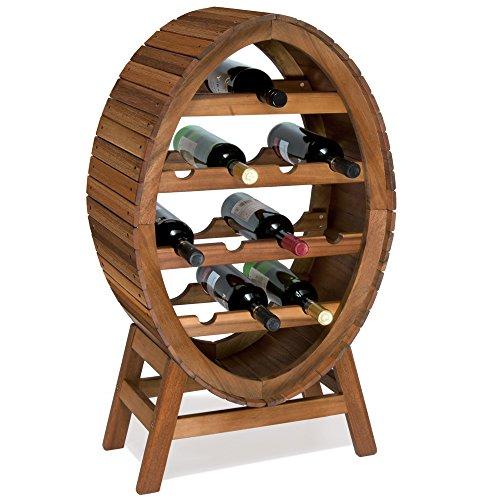 Weinregal für 12 Flaschen aus Massiv Holz im stilvollem Design Höhe 90cm Weinständer Weinfass Flaschenregal Fass Flaschenständer Vintage