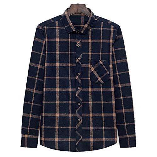 Juleya Herren 5 Farben Plaid Flanellhemd Casual Langarm Plaid Button-Down-Shirts mit Fronttasche Classic Check Print Baumwollhemd -