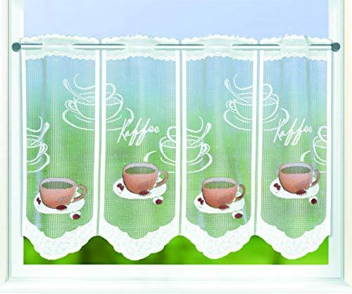 Kamaca Bistrogardine Coffee Break Scheibengardine Küchengardine mit handgesprühten Motiven kinderleicht in der Breite kürzbar Breite 100 cm/Höhe 45 cm EIN Hingucker in jeder Küche (Weiss braun)