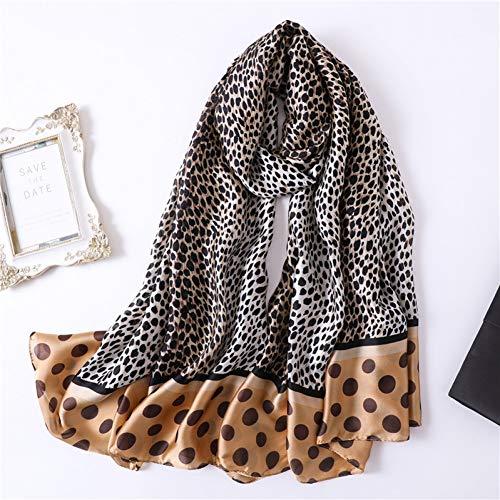 eopard Animal Print Dame Seide Schal Wickeln Bandana Hijabs Stirnband Stolen-Brown ()