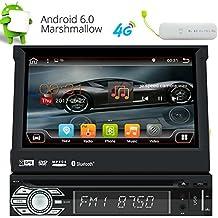 """Eincar Individual 1 DIN Android 6.0 Quad Core 2 GB de RAM 7"""" motorizado desmontable HD Multi-Touch est¨¦reo coche de la pantalla en el tablero reproductor de DVD GPS Radio Pantalla funci¨®n de espejo OBD2 DAB + WIFI 3G 4G Bluetooth Radio RDS subwoofer AV OUT con 4G Dongle gratuito"""
