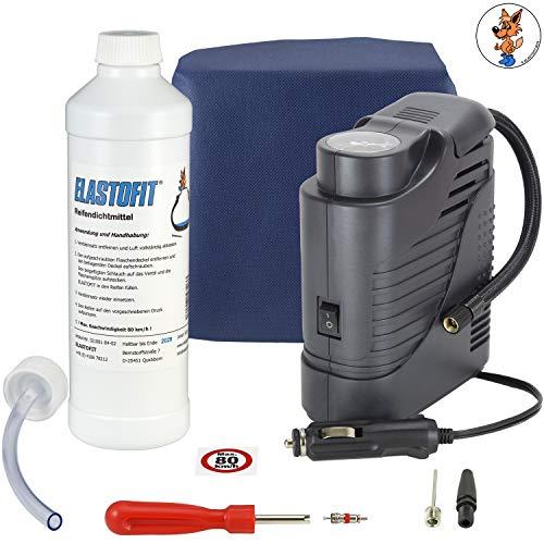 ELASTOFIT Reifenpannenset Compact für alle PKW 12V Kompressor Reifendichtmittel (Compact)