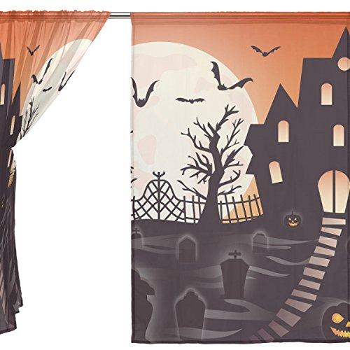 jstel 2Pcs Voile Fenster Vorhang, Happy Halloween Ghost Spooky Cute Friedhof Fledermaus Kürbis Hexe Spinnennetz, Tüll Sheer Vorhang Tuch Querbehang 139,7x 198,1cm Zwei scheibenelementen Set, Polyester, blau, 55x84x2(in) (Twinkle Kürbis)