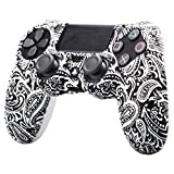 Leoie Camouflage Soft Silicone Case Skin Grip Cover for Playstation 4 PS4 Controller Flower White