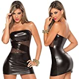 Zantec Frauen Skinny Sexy engen kurzen Rock Leder Wet Look Mini Tube Top Kleid mit schiere Pailletten Night Club Wear Fetisch