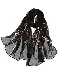 BaZhaHei Foulard Femme Rose Dot Impression Longue Echarpe Doux Châle Léger  Foulards en Soie de simulation ea493d9184b