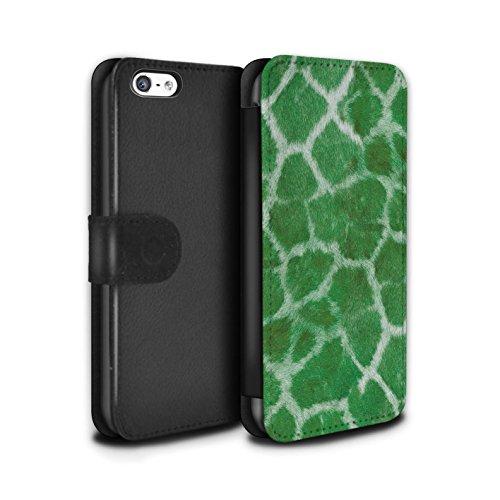 Stuff4 Coque/Etui/Housse Cuir PU Case/Cover pour Apple iPhone 5C / Orange Design / Girafe animale Peau/Motif Collection Vert