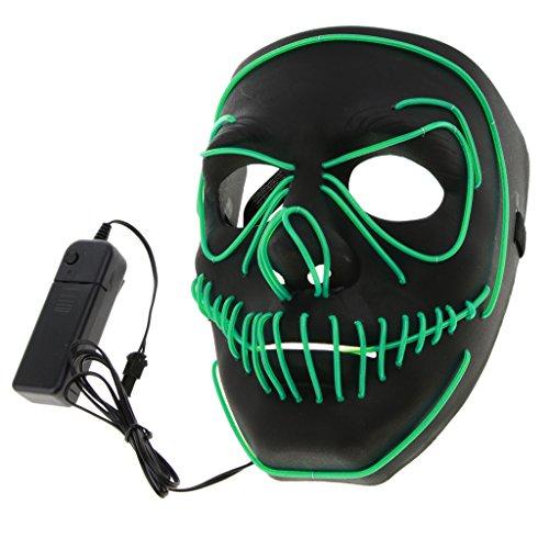 Kostüm Skelett Grün - Baoblaze Akku LED Maske Beleuchtung Maske Schädel Maske Skelett Maske Halloween und Cosplay Kostüm Zubehör - Grün